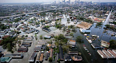 A badly flooded New Orleans