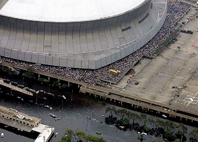 A crowd of Hurricane Katrina survivors await entry to the Superdome