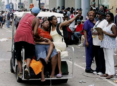 A Hurricane Katrina survivor is transported after she collapsed