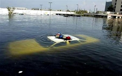 A submerged police car