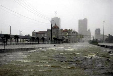 The strong winds of Hurricane Katrina cause waves in the floodwater