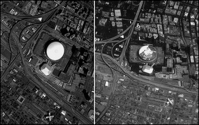 Aerial View of Superdome Before and After Hurricane Katrina