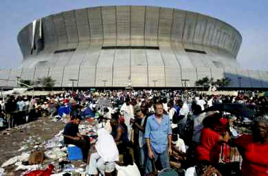 Hurricane Katrina survivors at the New Orleans Superdome